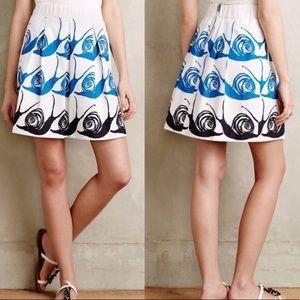 Anthro Maeve Snail Printed Mini Pleated Skirt